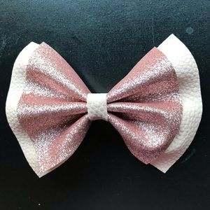 Pale pink faux leather glitter bow!